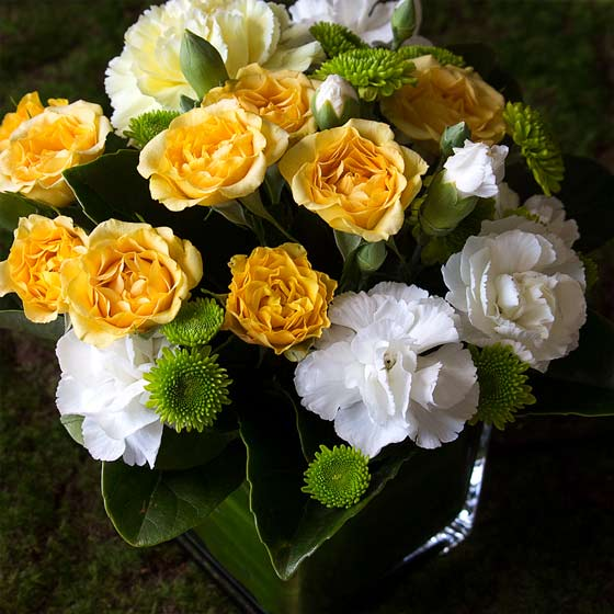 easter flowers Interflora white yellow green