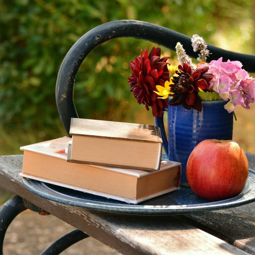 two books on top of eachother on a chair with an apple and flowers