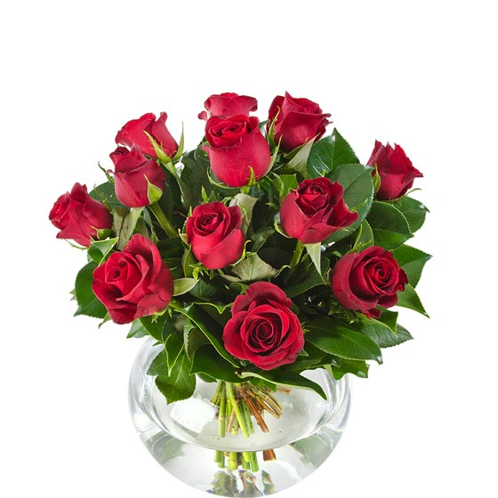 red roses in glass fishbowl