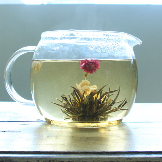 Blooming tea made from chrysanthemum flowers