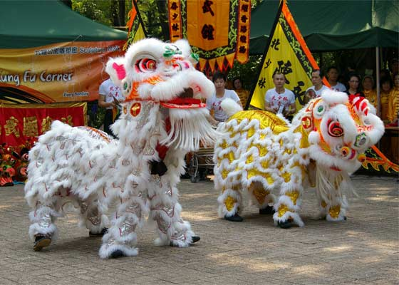 The lion dance, commonly performed during Lantern Festival