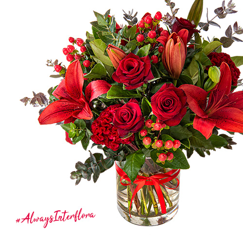 Interflora Bright Red Festive Christmas Arrangement