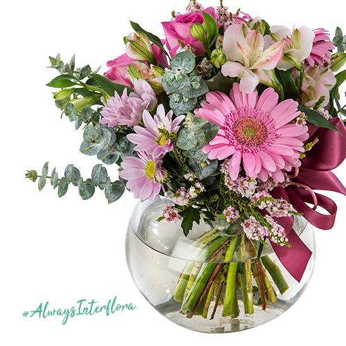 Interflora National Breast Cancer Foundation Pink Flower Arrangement in a Fish Bowl Vase
