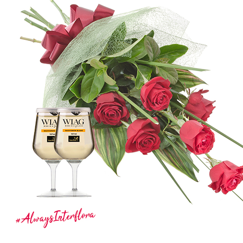 Real Affection Red Rose Bouquet With 2 Interflora White Wines In A Glass