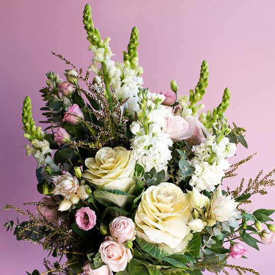 large blushing bride and kale flower arrangement in vase with pink background