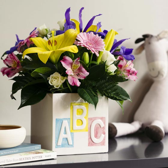 coloured flowers in abc box