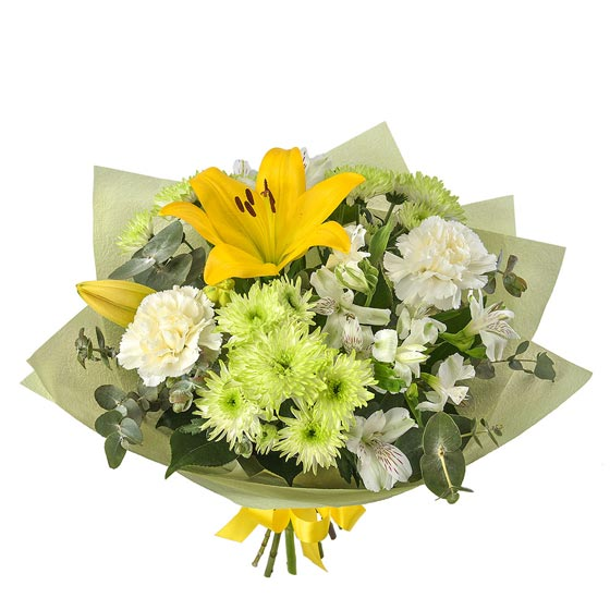 yellow green and white flower bouquet