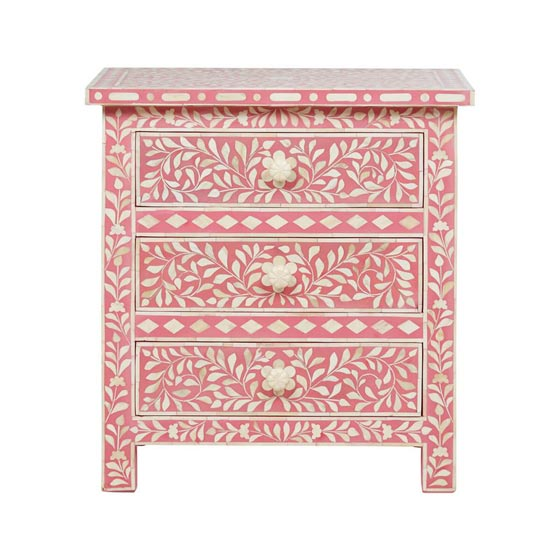 Bone Inlay Floral Bedside Drawer
