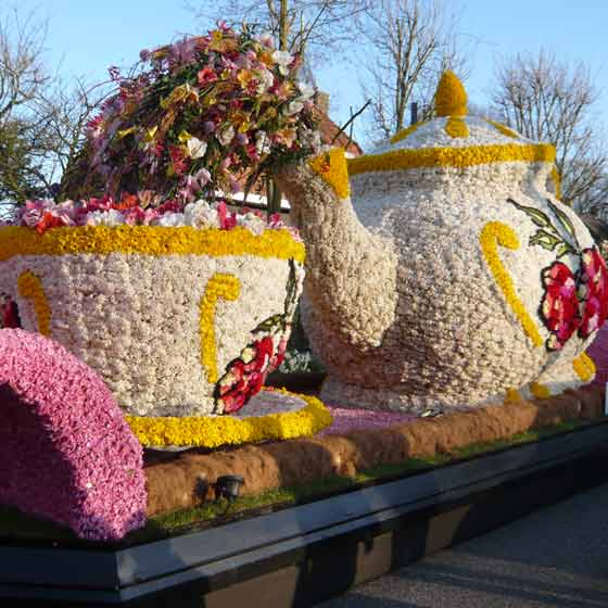 large flower teapot and cup on float