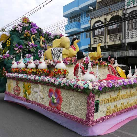 floral float with people on top