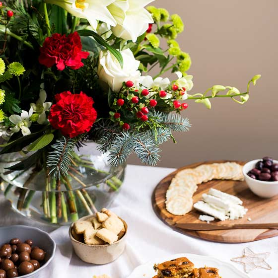 christmas flowers with cheeseboard