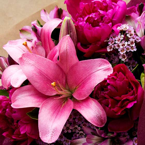 pink lily and peony bouquet