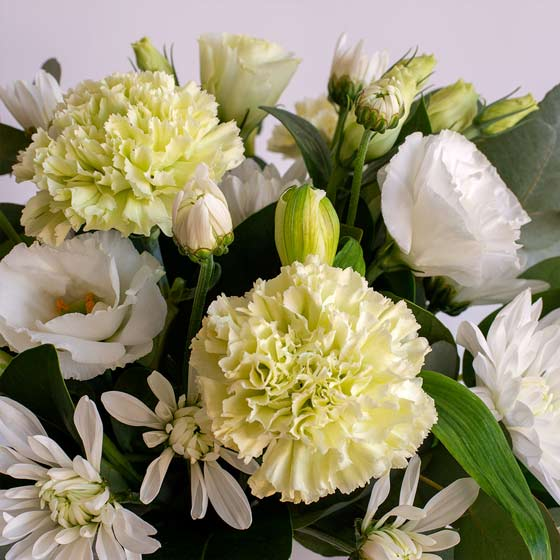 white and soft green flower arrangement