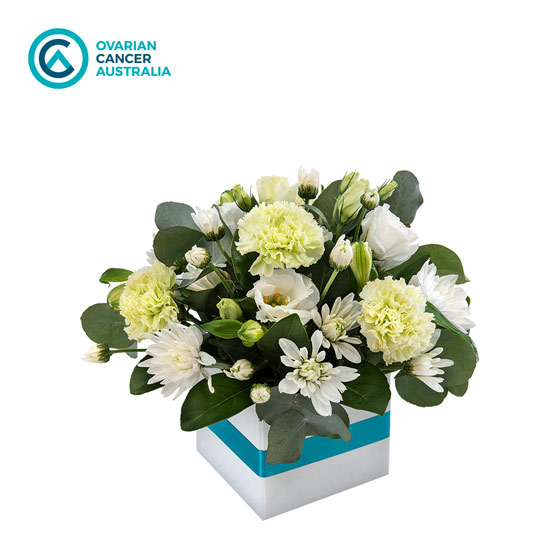 support a sister floral arrangement in box