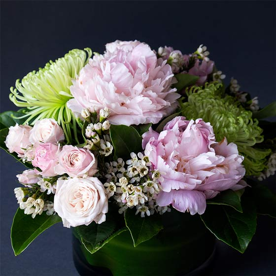 pink and green peony bouquet
