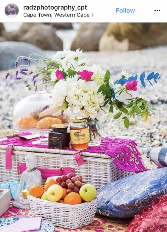 picnic foods basket and flowers