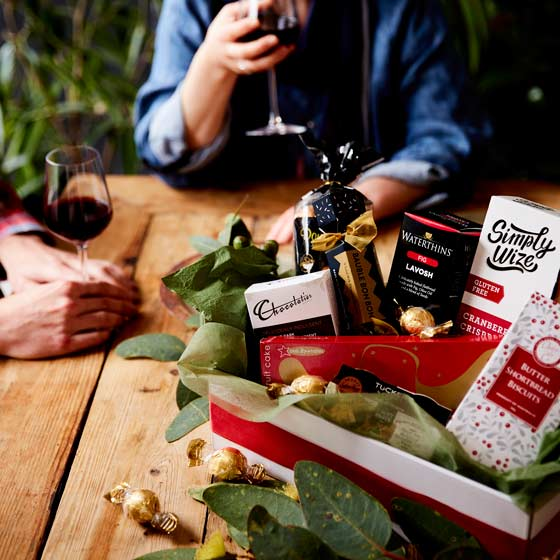 christmas hamper with gourmet christmas foods