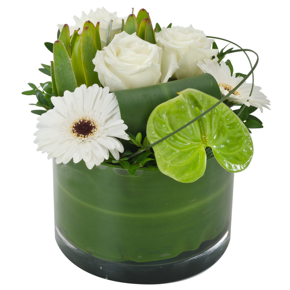 Image of Birthday Flowers - Mixed Arrangement in Glass Vase Flowers
