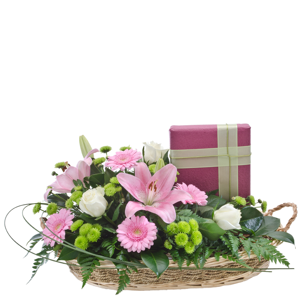 Image of Birthday Flowers - Basket Arrangement with Boxed Chocolates Flowers