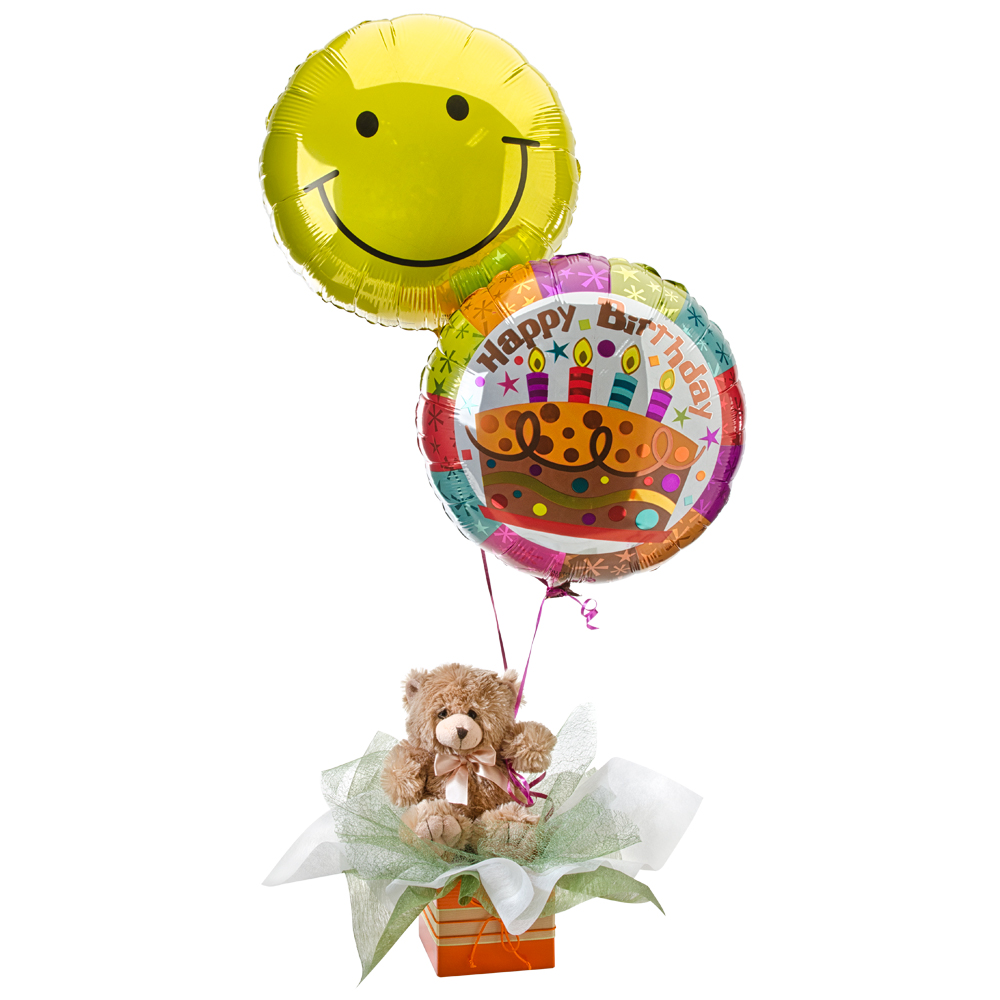 Image of Birthday Gift - Teddy Bear with Balloons Flowers