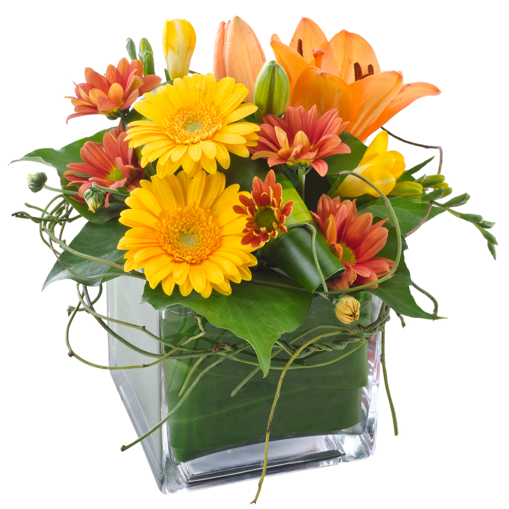 Image of Birthday Flowers - Mixed Arrangement in Glass Cube Flowers