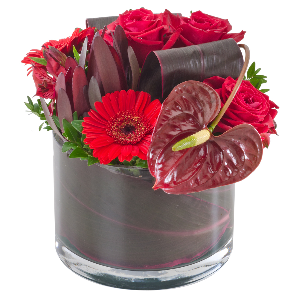 Image of Birthday Flowers - Red Mixed Arrangement Flowers